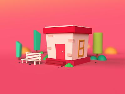Tiny House cuteillustration homepage trending design onboarding screen uidesign 3d 3d art 3d artist 3d modeling drawing vector illustration