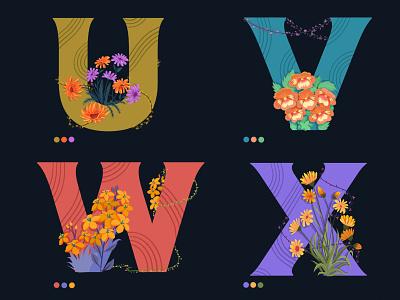 36daysoftype colors dribbble design flowers illustration digitalart learning childrens illustration webdesign uv alphabet logo florals floral design flower illustration drawing vector