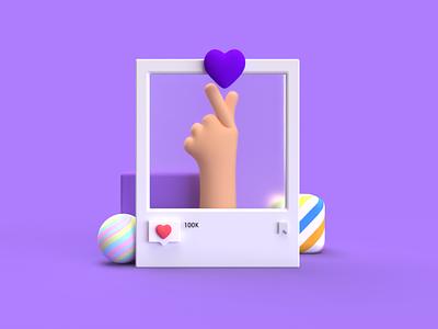 Purple Heart Tap purple hand digitalart design commercial like ideas instagram post poster art instagram 3dillustration 3d modeling 3d art illustration
