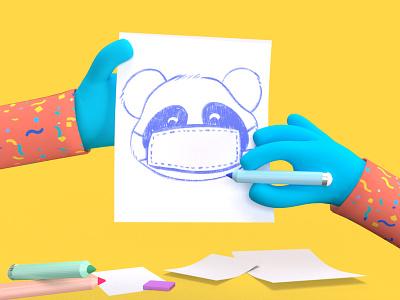Sketching Hands 3D Illustration trendy design dribbble design illustrations minimalist pencil sketch smooth 3dillustration 3d artist 3d 3d modeling illustration