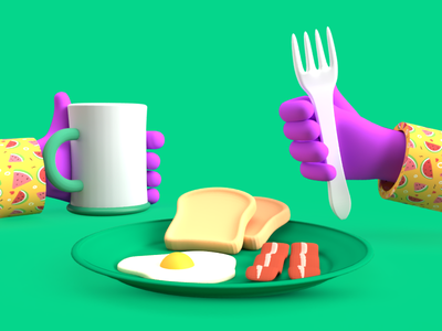Breakfast plate READY! food illustration 3dclay 3dmodel 3dillustration illustration dribbble animation branding graphic design 3d