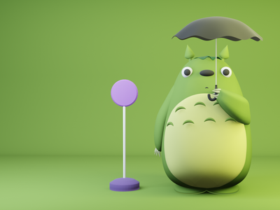 Totoro artist animation illustration 3dillustration blender anime japananime totoro 3dmodel dribbble model 3d
