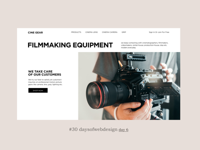Filmmaking equipment figma landingpage website design website minimal ui ux user interface webdesigner webdesign