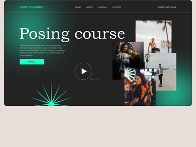 Pose like a pro design concept landingpage website design minimal ui ux user interface webdesigner webdesign