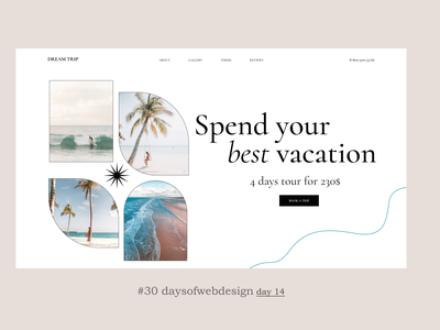Best vacation concept website design landingpage minimal website ux ui user interface webdesigner webdesign