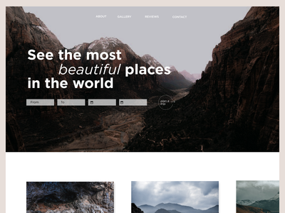 The most beautiful places ui design concept landingpage website design minimal website user interface webdesigner webdesign
