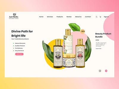 Exploration of ecommerce landing page for organic beauty typography illustration branding ux-ui uidesigner uidesign minimalist ux designer flatdesign organic beauty oil