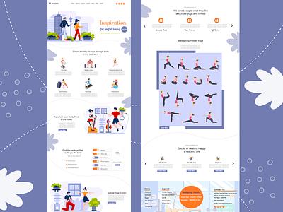 Yoga Landing Page Web Design - UI / UX poweryoga typography illustration illustrator webdesign uiux yoga studio yoga pose yoga