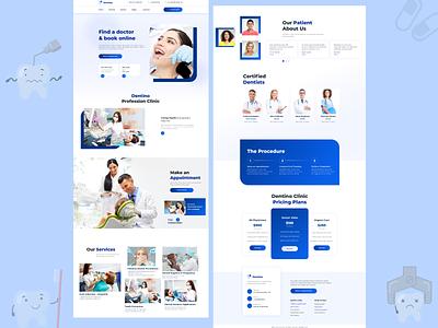 Dentist Landing Web Design - UI / UX vector branding illustration ux designer flatdesign uidesigner minimal webdesign dentist near me doctors doctor dentists dentist
