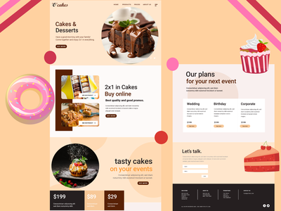 Cakeshop Web Design Landing Page - UI/UX chocolates chocolate muffins webdesign cake shop cakery cakeshop cakes cake
