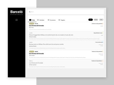 Barceló cpanel cms cpanel minimal interaction design web app design ui ux