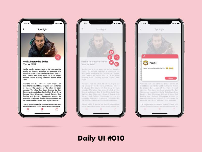 Daily UI challenge#010 Social Share sktech illustration design ui dailyui