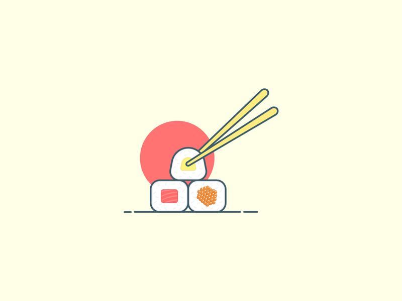 Sushi Rolls Flat Illustration soft colors japanese culture japanese food rice sushi sushi roll chopsticks chopstick digital art digital illustration illustrator flat illustration illustration flat  design flat designs flat design flatdesign simple illustration simple design simple