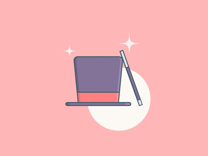 Magician Hat and Stick Flat Illustration trick hat sticker magician magic soft colors graphic resources illustration digital digital illustration simple illustration illustrations illustration flat  design flat design flatdesign flat illustrations flat illustration simple design simple flat simple
