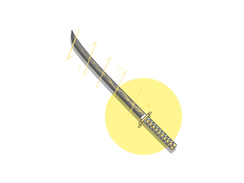 Thunder Sword Flat Illustration design for sale graphic resources soft colors sword thunder cartoon digital illustration illustration flat illustration flat design simple illustration simple design simple