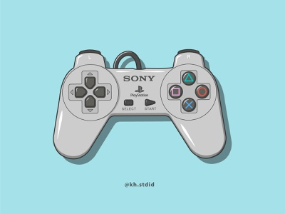 PS1 Controller Flat Illustration childhood memories childhood designs soft colors cartoons digital art illustration digital playstation console controller simple designs simple design simple illustration simple flat illustration flat illustrator flat illustrations