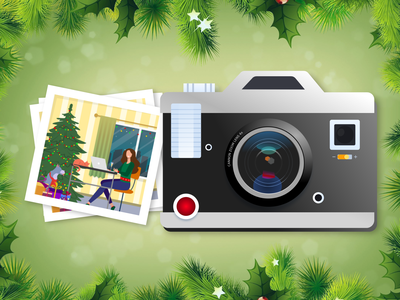Happy New Year and Merry Christmas! polaroid flat flat illustration portfolio christmas new year vector uiux graphic graphic design project ui ux illustration design