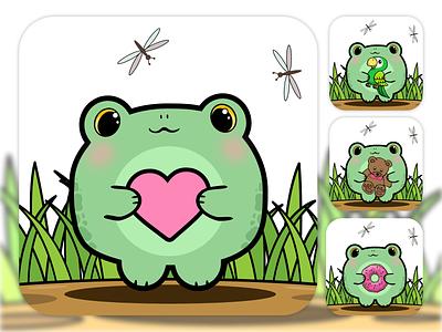Сute frog illustration concept design project freelance avatar cute frog portfolio vector graphic illustration graphic design