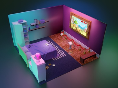 Gaming bedroom building illustration 3d