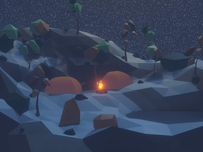 camping at night blender3d tents campfire stars landscape illustration