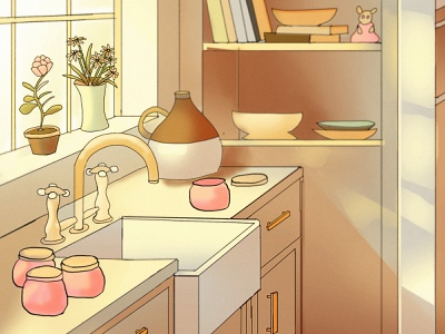 Kitchen interior building illustration