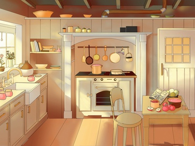 Kitchen in Sunlight illustration kitchen