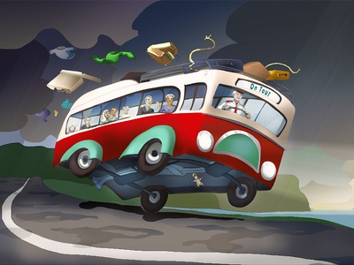 On Tour bus landscape illustration