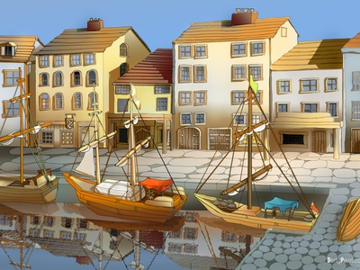 Quayside building landscape illustration
