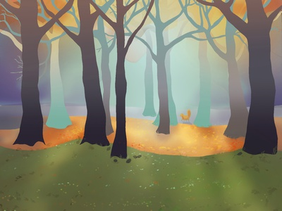 Autumnal trees fall autumn landscape illustration