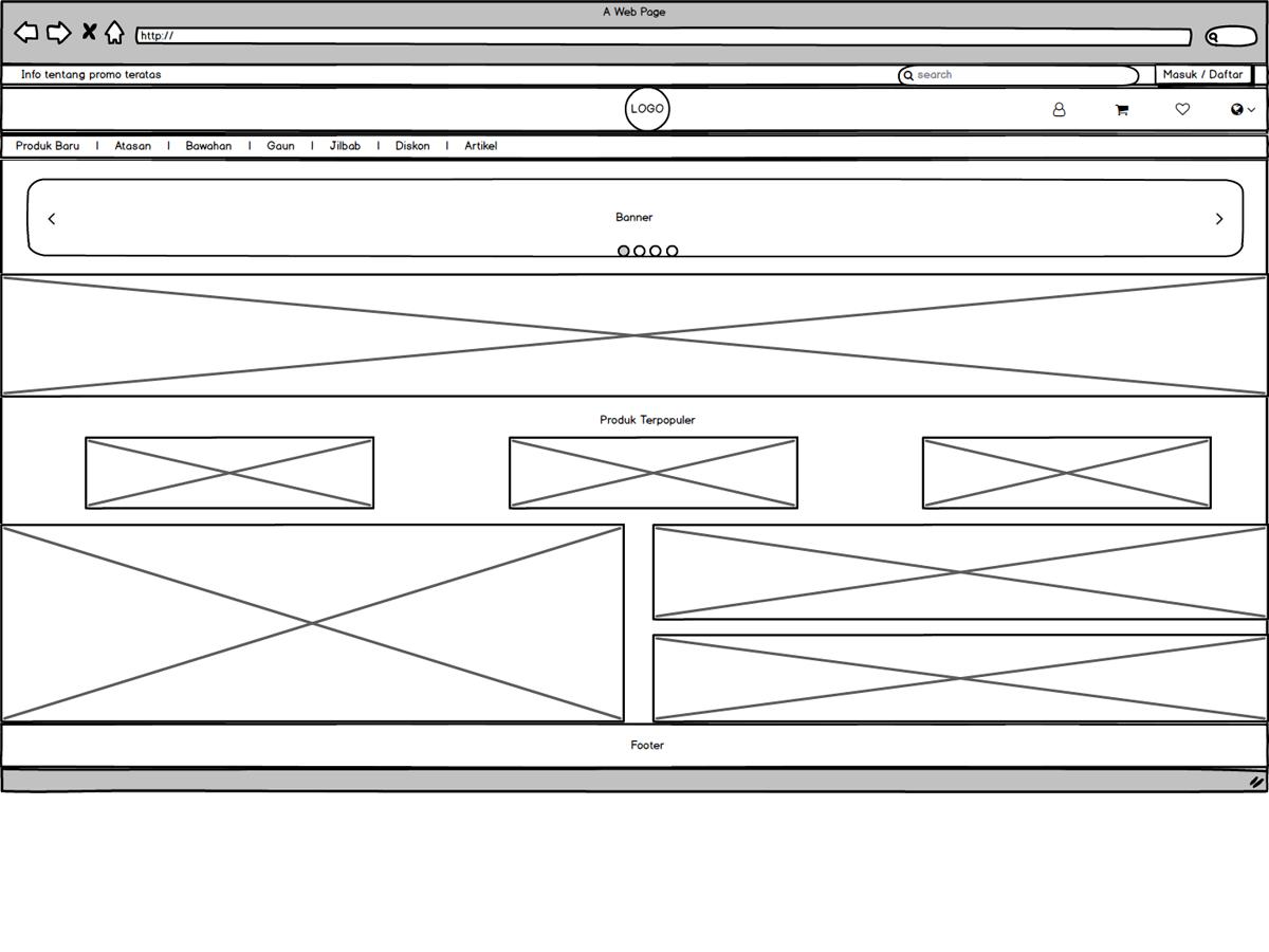 Tampilan Awal E-Commerce landing page mock-up website webshop ecommerce design balsamiq balsamic mockup mock up low fidelity