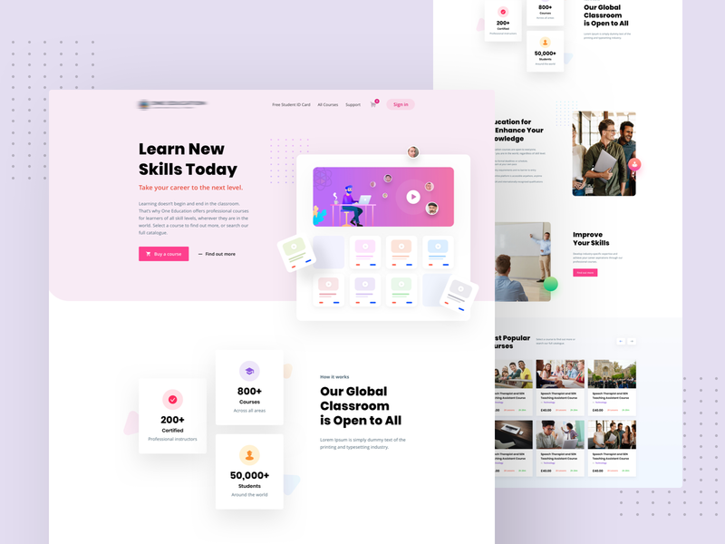 Online Educations Website Design study class classic clean modearn 2020 latest student ux ui webiste education online