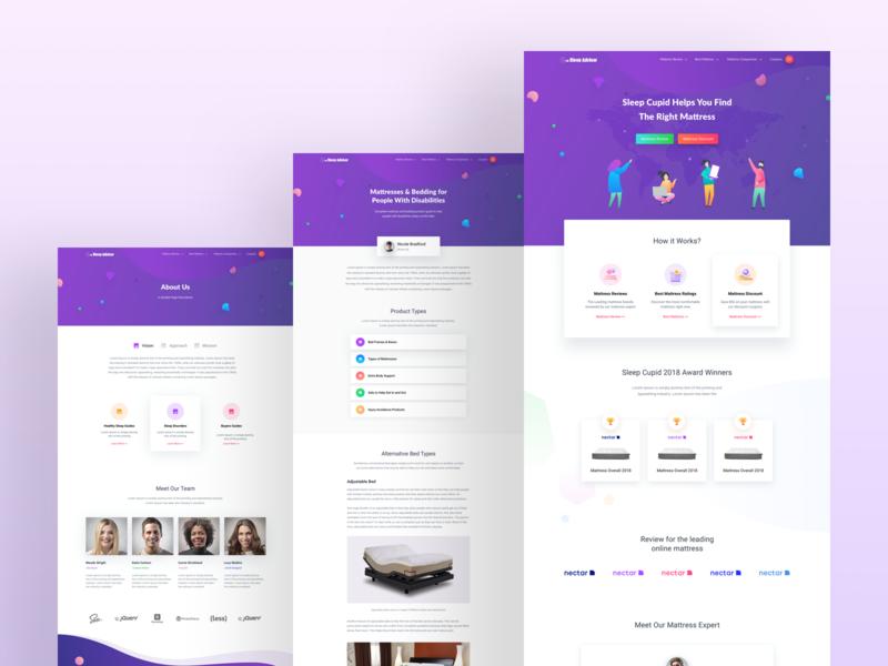Sleep Advisor Webiste Design color gradient clean page site web ui ux design 2019