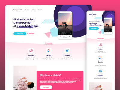 Landing Page for Dance app promo page landing page design events party dancing dance app dance android  app ios app app website app page website landing page web app branding design