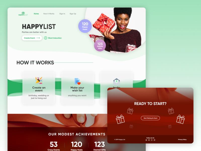 Landing page for wishlist app adobe xd gift wishlist party events wishes wish web app website landing page web design