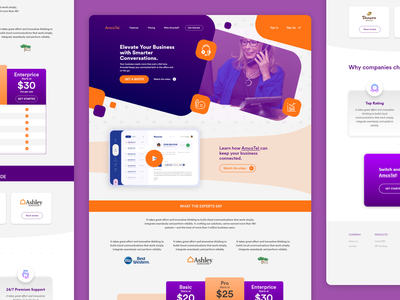 Landing Page for Business Phone Services branding agency services page business customer support call phone office voip landing page webpage webdesign website