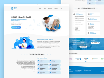 Home Health Care Landing Page clinic old man medical nursing doctor illustration agency website agency design branding web design homepage wordpress web web page website landing page healthcare health home