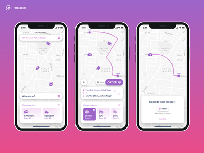 goTaxi - Ride and delivery app android app design ios app design wireframe figma design apple uber delivery taxi ride application mobile ux uiux ui app design ios app