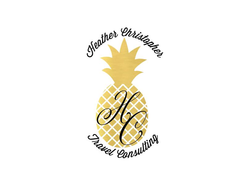 Heather Christopher Travel metallic illustration typography logo design branding