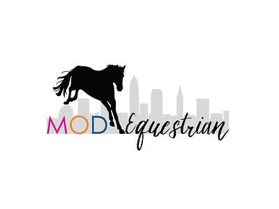 Mod Equestrian cityscape horse illustration logo typography design branding
