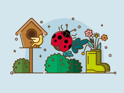 My Garden-2 line animals design illustration