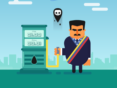 Maduro Oil venezuela maduro oil and gas flat illustration flat  design