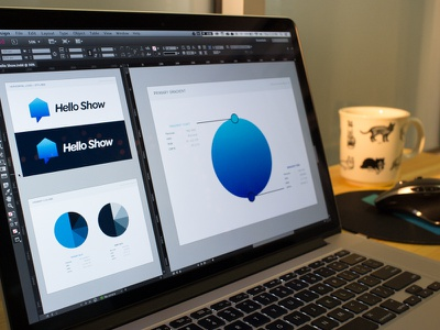 Hello Show Brand Book brand book hello show real estate branding identity gradient blue cat mug h1 studios