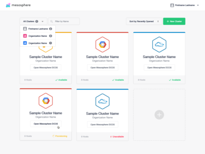 Clusters cards ui google cloud digital ocean mesosphere dcos datacenter tile