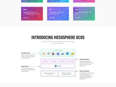 """Why Mesos"" Web Page data center datacenter technical diagram mesosphere cassandra spark docker website design"