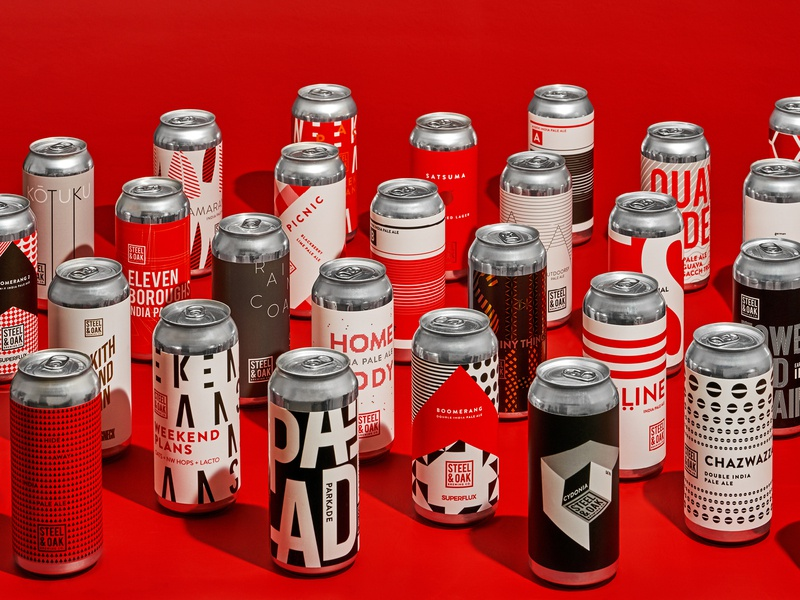 Steel & Oak Small Batch Cans packagingpro patterns pattern typography graphic design design illustration branding beer packaging beer branding beer can beer label packaging design packagedesign packaging