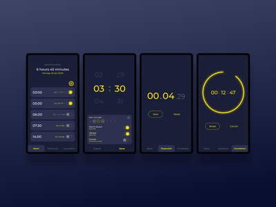 Clock Apps - Design Exploration mobile apps simple design countdown stopwatch alarm clock simple mobile design challenge dark ui dark theme ui design