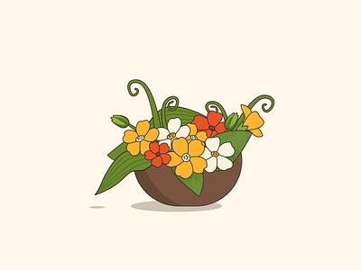 Flower basket illustration