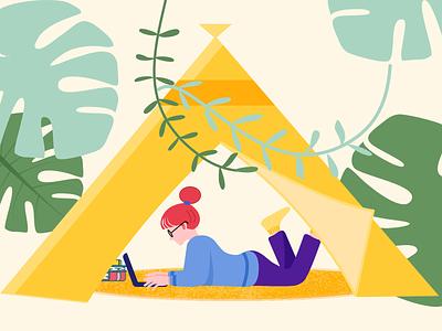 Camping at home illustration