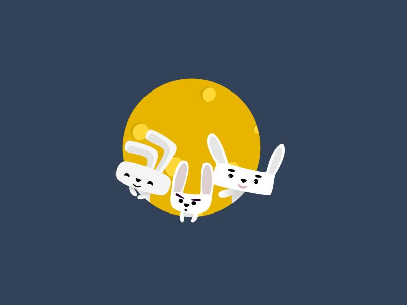 rabbit family moon characterdesign rabbit illustration
