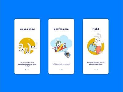 Onboarding rabbit character zero waste app habit